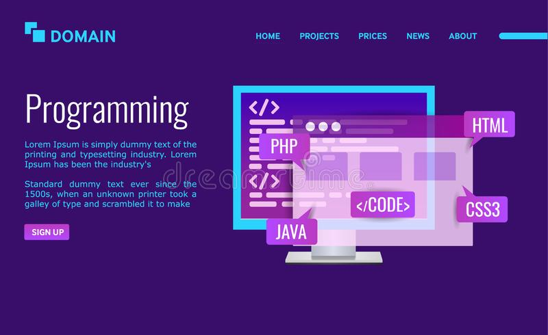 Programming Landing page design. PC with program code and icons java, html, css, html. Site development. Vector illustration on ultraviolet background stock illustration