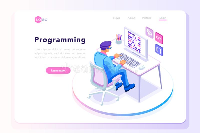 Programming landing page template man at work. Programming concept, web engineer at work, vector image. Programmer programming web site landing page template royalty free illustration