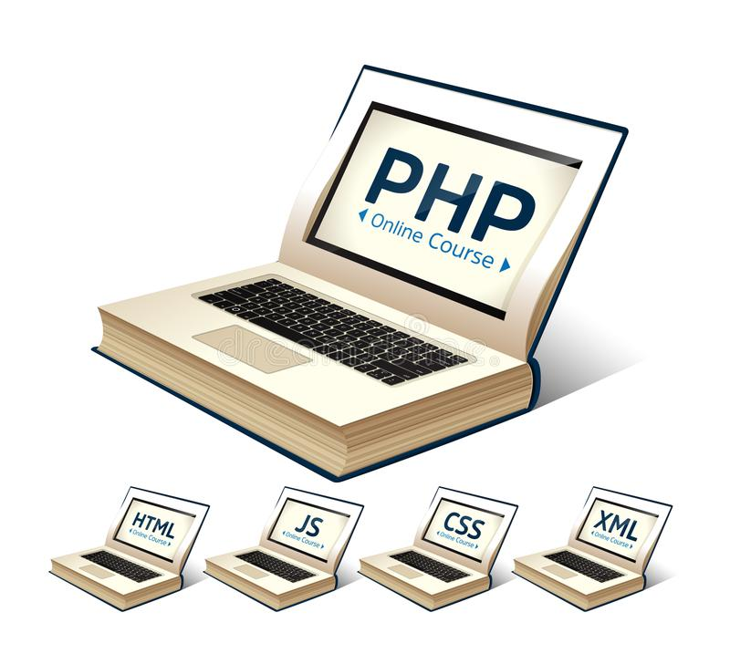Programming language concept - PHP, CSS, XML, HTML, Javascript learning - book as laptop stock illustration