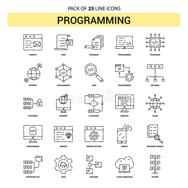 Programming Line Icon Set - 25 Dashed Outline Style royalty free illustration