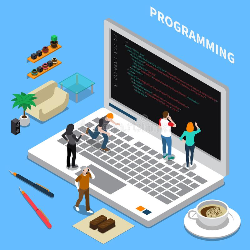 Programming Miniature Isometric Concept. Miniature isometric concept with programming specialists laptop and interior items on blue background 3d vector royalty free illustration