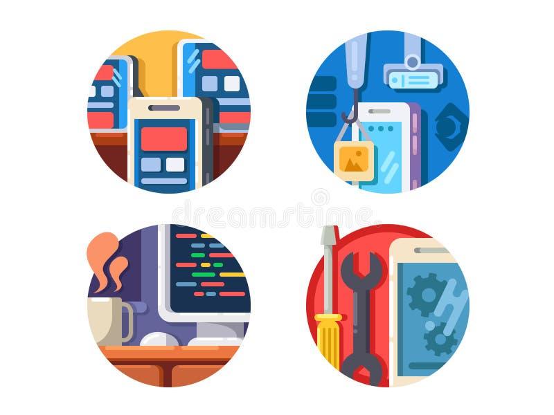 Programming mobile application icons set royalty free illustration