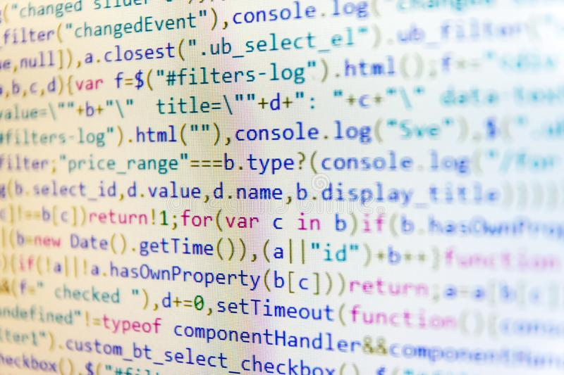 Programming preventing hacks in Internet security. PHP data source file. Digital technology on display. Notebook closeup photo stock photo