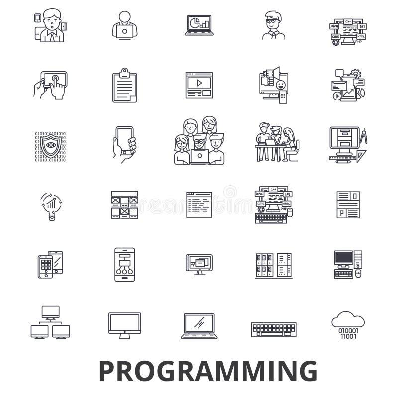 Programming, programmer, code, computer, software, development, application line icons. Editable strokes. Flat design vector illustration