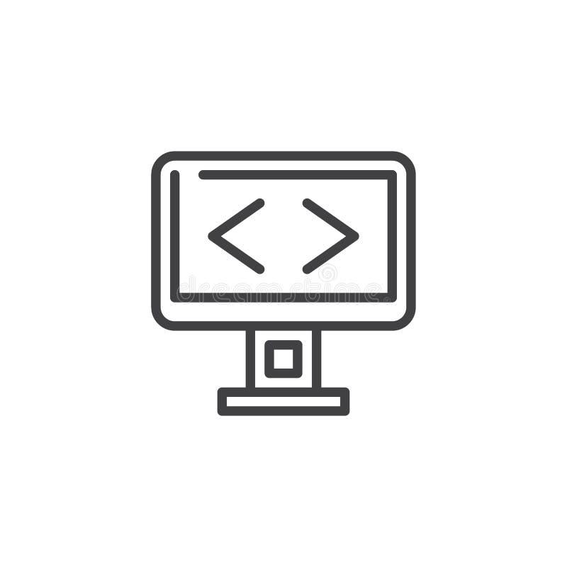 Programming screen line icon royalty free illustration