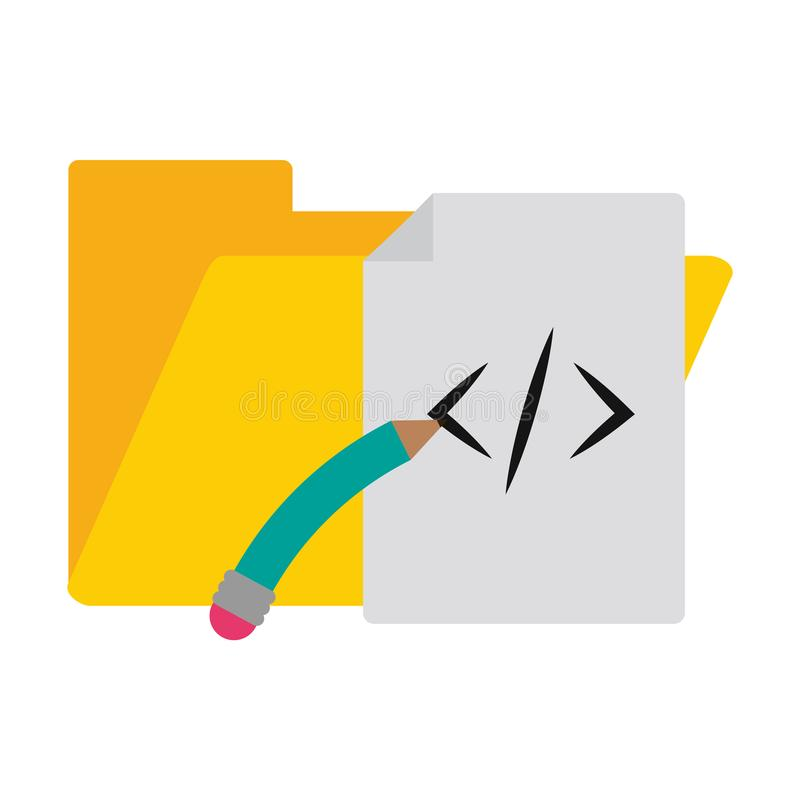 Programming sheet and folder with pencil symbols stock illustration
