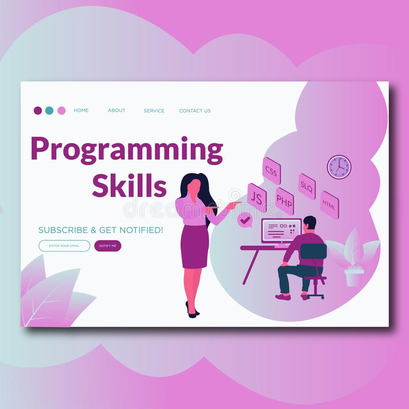 Programming Skills- Modern flat web page design template concept of Programming Skills for website and mobile website development stock illustration