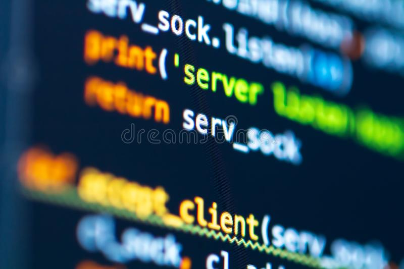 Programming software code on display computer. Developer work tool. Coding development process on screen. Code of back-end web application server stock photo