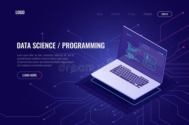 Programming and software development web page banner isometric icon, laptop pc with program code on screen, data vector illustration