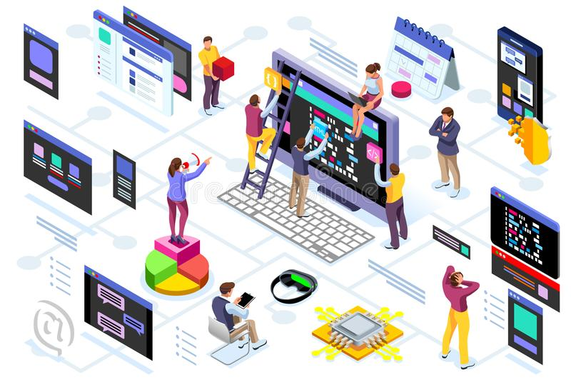Programming software interface device engineers royalty free illustration