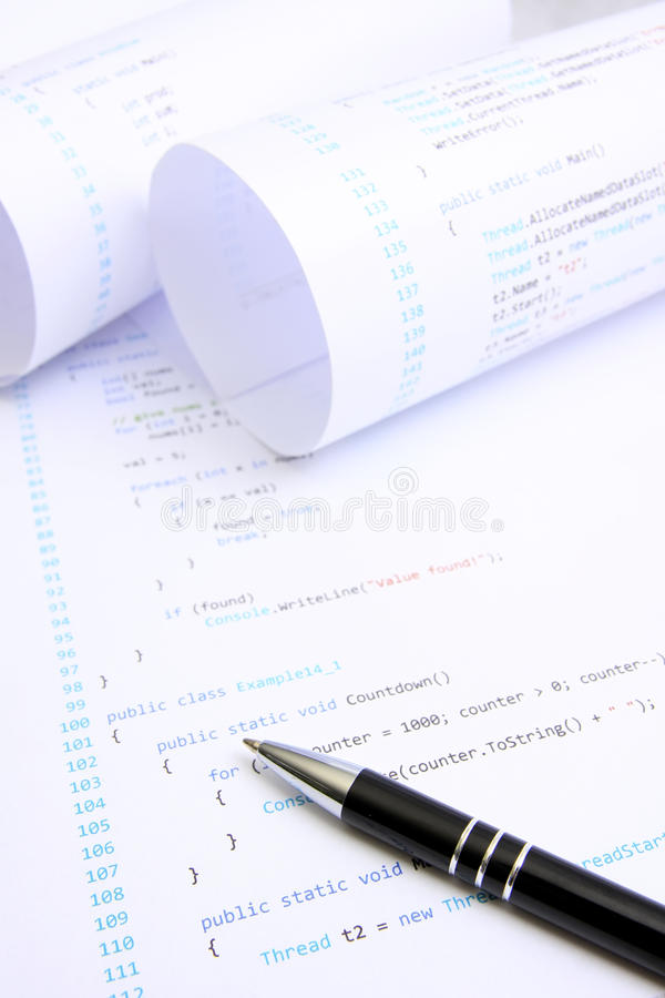 Programming source code. Computer programming source code on paper royalty free stock images