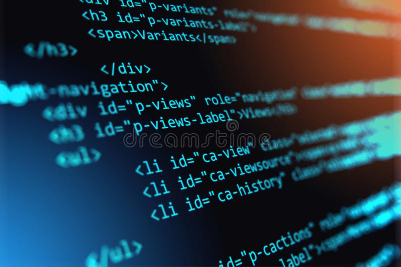 Programming source code abstract background. Creative abstract PHP web design, internet programming HTML language and digital computer technology business stock image