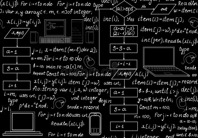 Programming technical seamless pattern with programming code, program flow diagrams, formulas, technical devices and schemes. Endless computer texture. You can royalty free illustration
