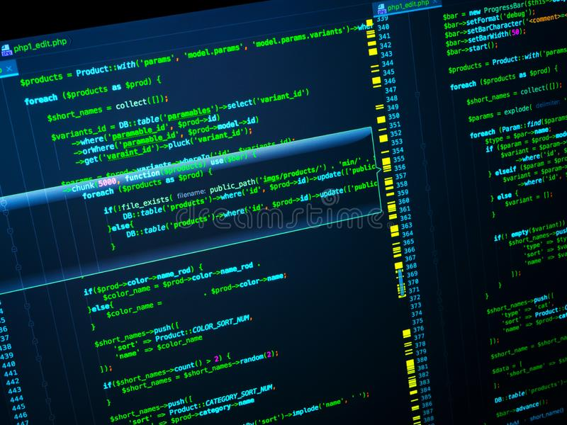 Programming. Web developing on the php language. PHP on dark blue background, macro. Programming concept. Web developing on the php language, close up. Green royalty free stock photography