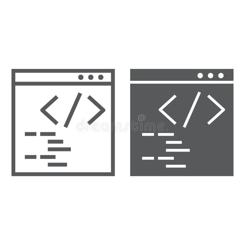 Programmzeile und Glyphikone, Website und Entwicklung, Browserzeichen, Vektorgrafik, ein lineares Muster vektor abbildung