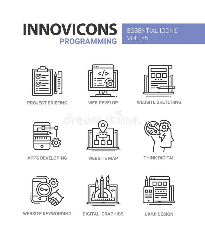 Programować - nowożytne wektor linii projekta ikony ustawiać ilustracja wektor