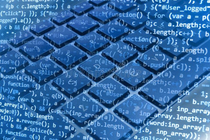 Programowania cyfrowania źródła kodu ekran obraz stock