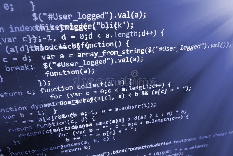 Programowania cyfrowania źródła kodu ekran fotografia stock