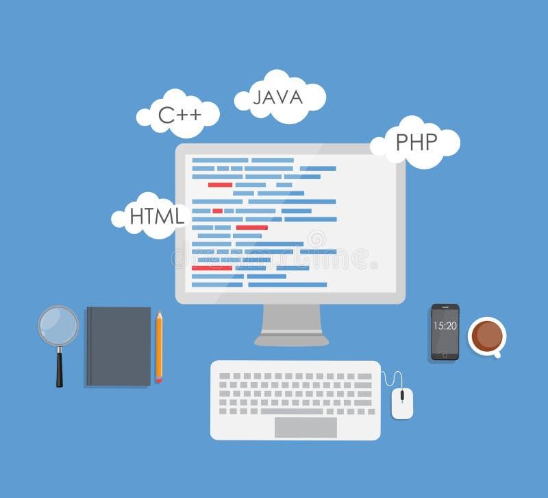 Programowania cyfrowania pojęcia Płaski wektor ilustracji