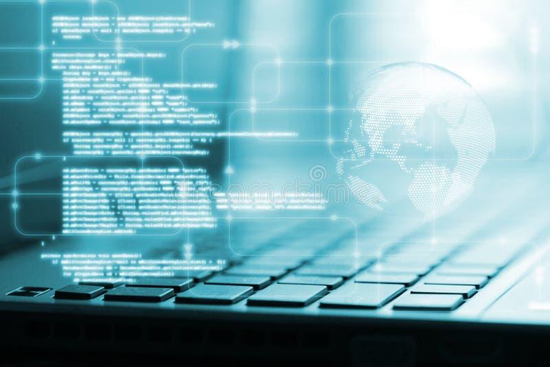 Programowania pojęcie Oprogramowania pisma cyfrowania binarny odrzynek na dane nauki diagramie i kuli ziemskiej sfery tle obraz stock