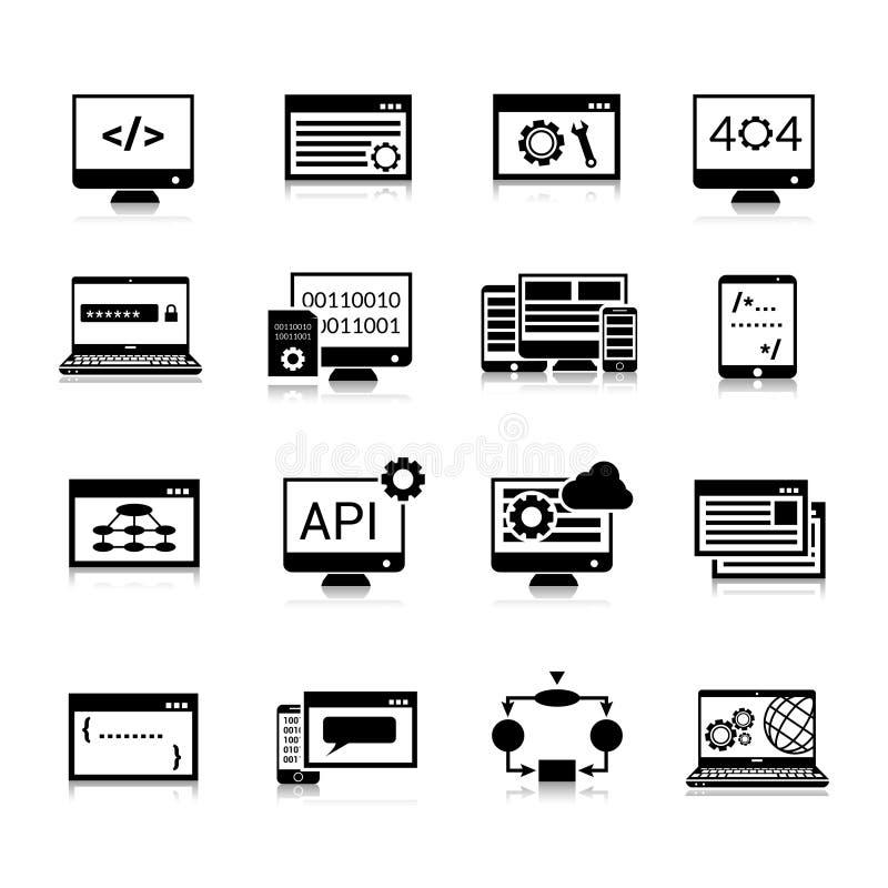 Programowanie ikon czerń ilustracji