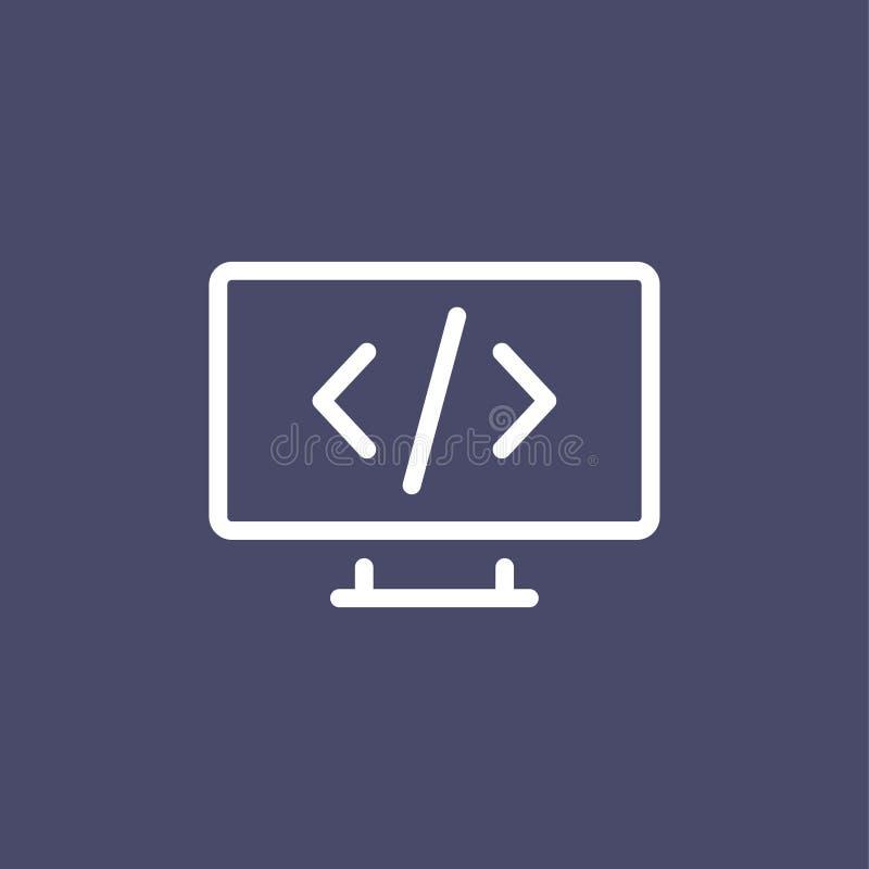 Programowanie ikony mieszkania stylu konturu prosta ilustracja ilustracja wektor
