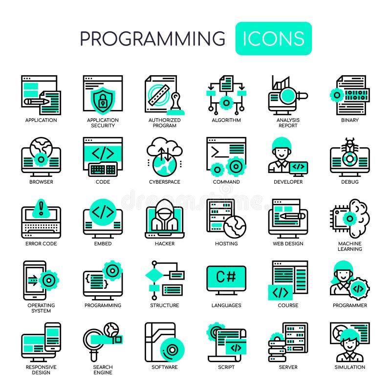 Programowanie, piksel Perfect ikony ilustracja wektor
