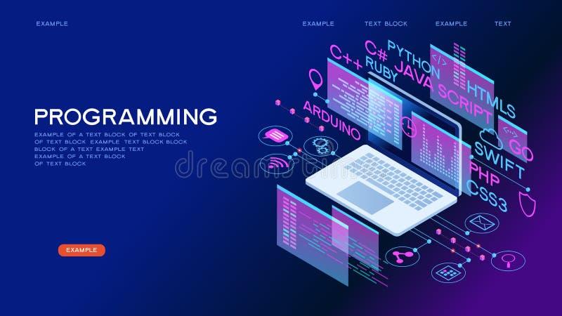 Programowanie sieci sztandar ilustracja wektor