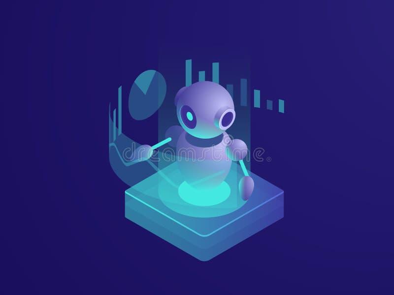 Programuje analizować, ai robot, sztucznej inteligenci automatyzujący dane reportaż proces, czyta rozkład, nowożytny mądrze royalty ilustracja