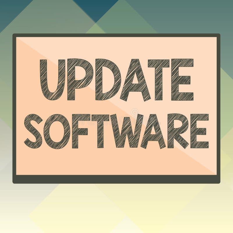 Programvara för handskrifttextuppdatering Begreppsbetydelse som byter ut program med en nyare version av samma produkt vektor illustrationer