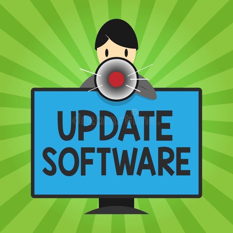 Programvara för uppdatering för handskrifttexthandstil Begreppsbetydelse som byter ut program med en nyare version av samma produ vektor illustrationer