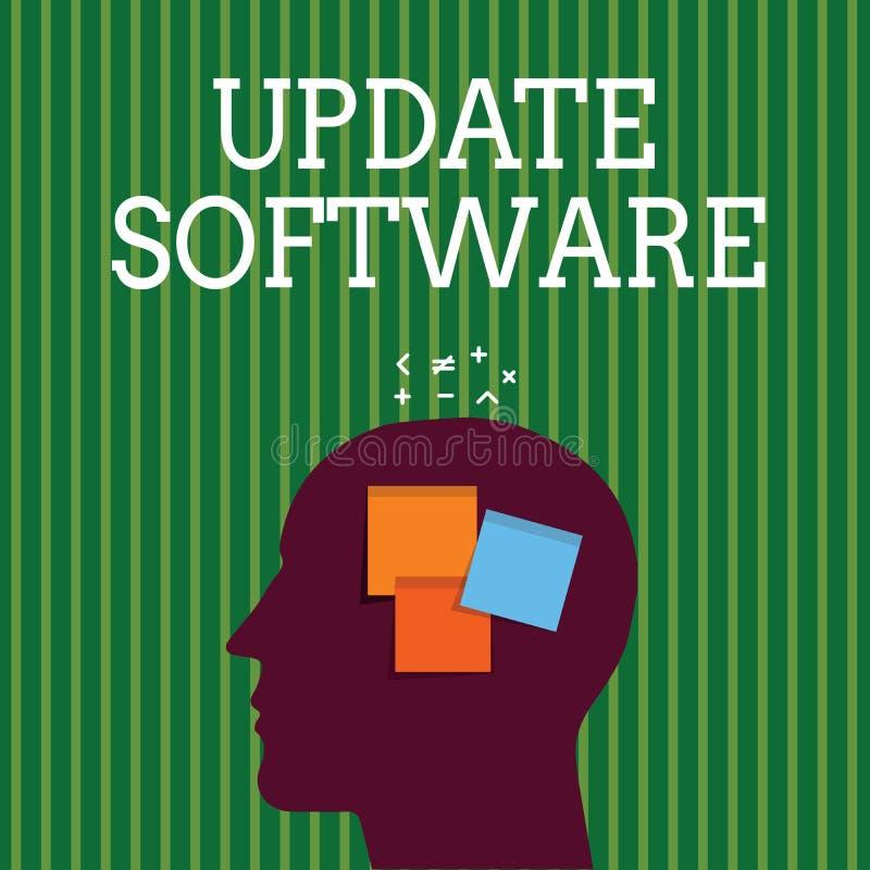 Programvara för uppdatering för handskrifttexthandstil Begreppsbetydelse som byter ut program med en nyare version av samma produ stock illustrationer