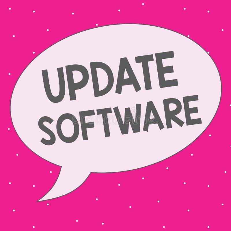 Programvara för uppdatering för handskrifttexthandstil Begreppsbetydelse som byter ut program med en nyare version av samma produ royaltyfri illustrationer