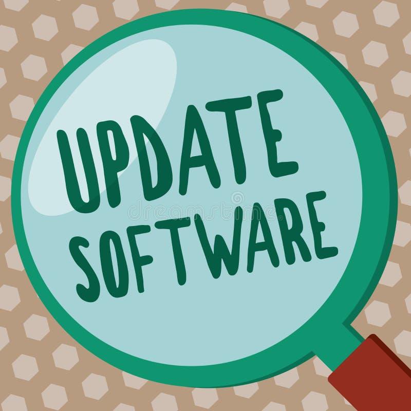 Programvara för uppdatering för ordhandstiltext Affärsidé för utbytning av program med en nyare version av samma produkt royaltyfri illustrationer