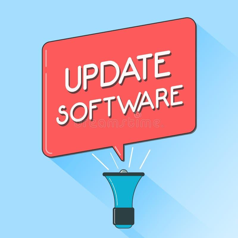 Programvara för uppdatering för ordhandstiltext Affärsidé för utbytning av program med en nyare version av samma produkt stock illustrationer