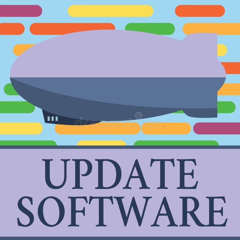 Programvara för uppdatering för textteckenvisning Begreppsmässigt foto som byter ut program med en nyare version av samma produkt stock illustrationer