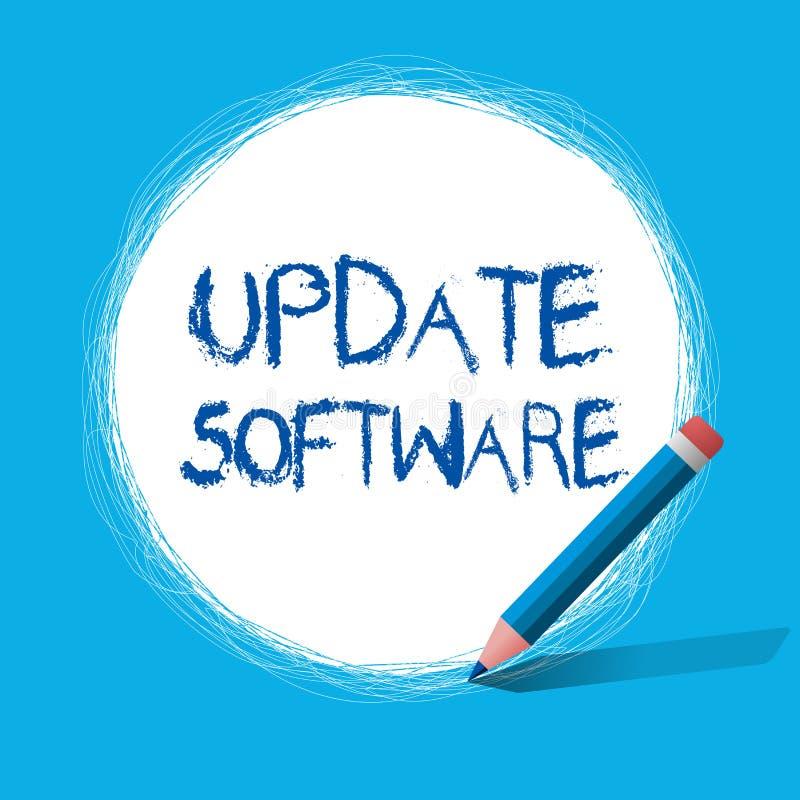 Programvara för uppdatering för textteckenvisning Begreppsmässigt foto som byter ut program med en nyare version av samma produkt vektor illustrationer