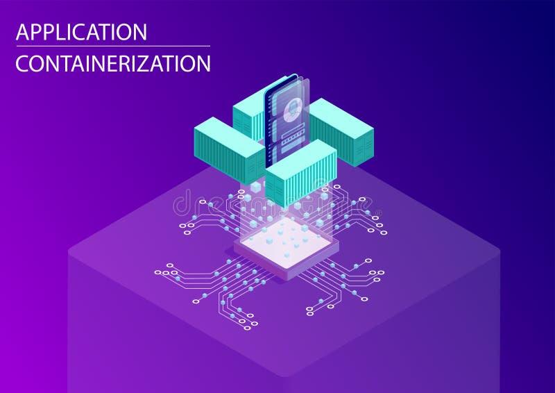Programvara och applikationcontainerizationbegrepp isometrisk illustration för vektor 3d med att sväva den smarta telefonen och b royaltyfri illustrationer