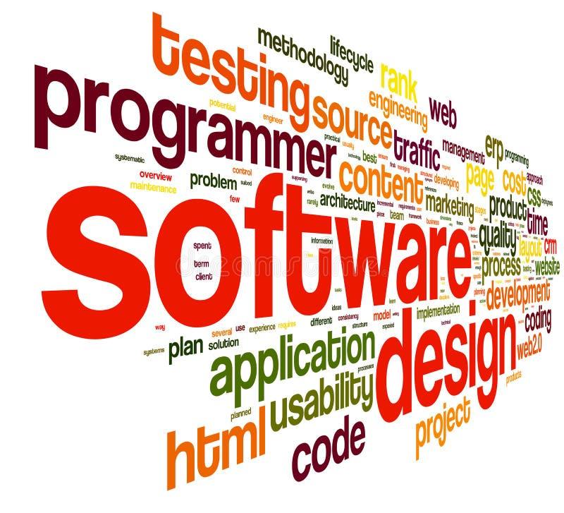 Programvarudesignbegreppet märker in molnet stock illustrationer