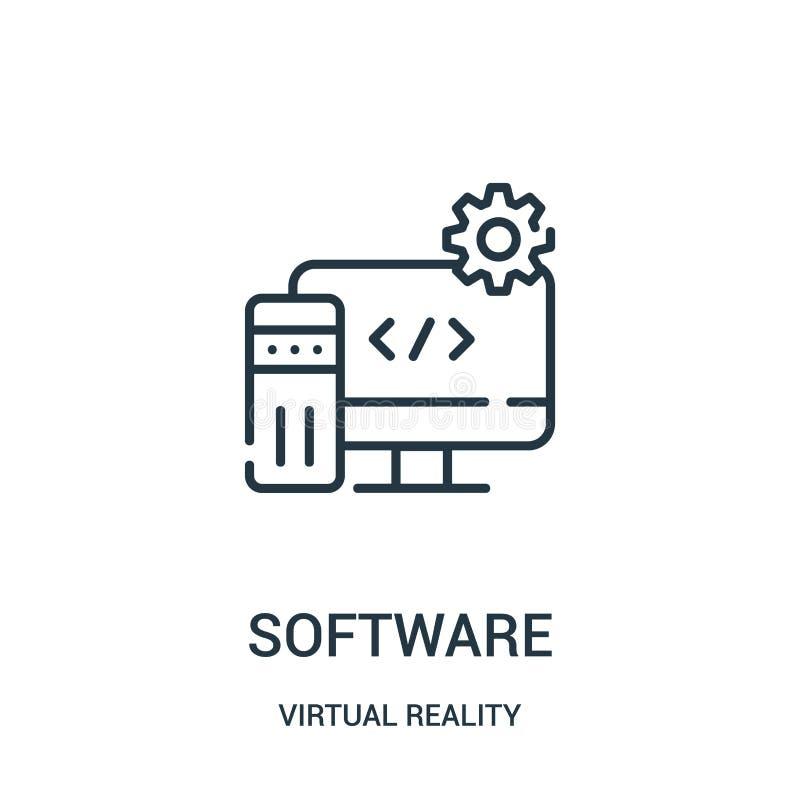 programvarusymbolsvektor från virtuell verklighetsamling Tunn linje illustration f?r vektor f?r programvaru?versiktssymbol royaltyfri illustrationer