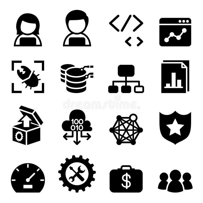Programvaruutveckling, programvarudesign, dator som programmerar symbolen vektor illustrationer
