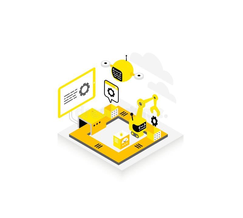 Programvaruutveckling Teknologisk transportörsymbol Programmera testa robotar och surr Isometriskt infographic yellow stock illustrationer
