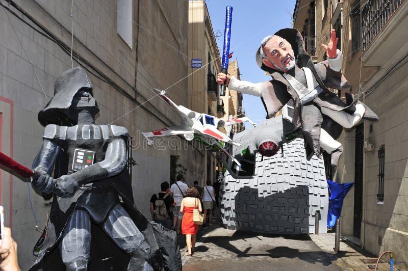 Progres gata som garneras under Festes de Gracia royaltyfri fotografi