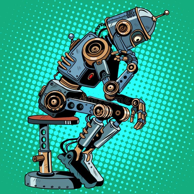 Progreso de la inteligencia artificial del pensador del robot ilustración del vector