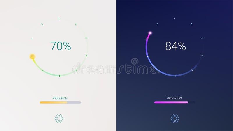 Progreso del cargamento para los apps o el precargador móviles del web en fondo ligero y oscuro Carga, actualización o transferen stock de ilustración