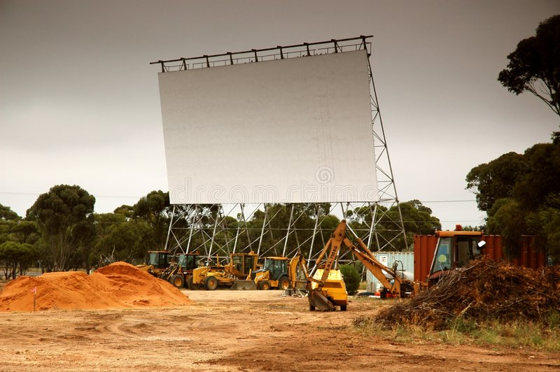 Download Removing Old Outdoor Movie Screen Stock Image - Image: 478929
