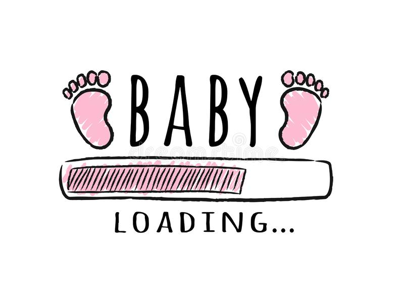 Progress bar with inscription - Baby loading and kid footprints in sketchy style. Vector illustration for t-shirt design, poster, card, baby shower decoration royalty free illustration