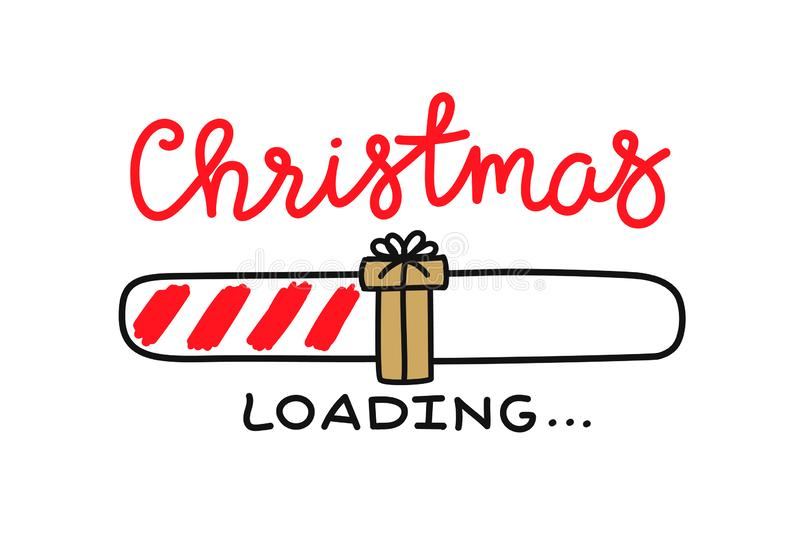 Progress bar with inscription - Christmas loading and doodle gift in sketchy style. Vector christmas, New Year royalty free illustration