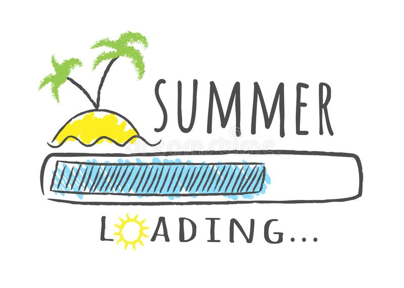 Progress bar with inscription - Summer loading and palms on the beach in sketchy style. vector illustration