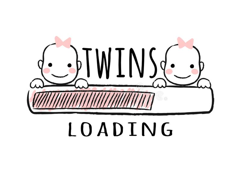Progress bar with inscription - Twins loading and newborn girls faces in sketchy style. vector illustration